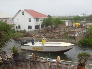 Suya Boat looking for shelter from weather in belize