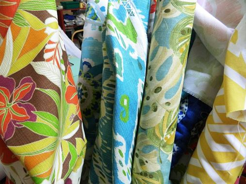 fabric choices at sew what store downtown belize