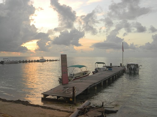sunrise on the beach in belize